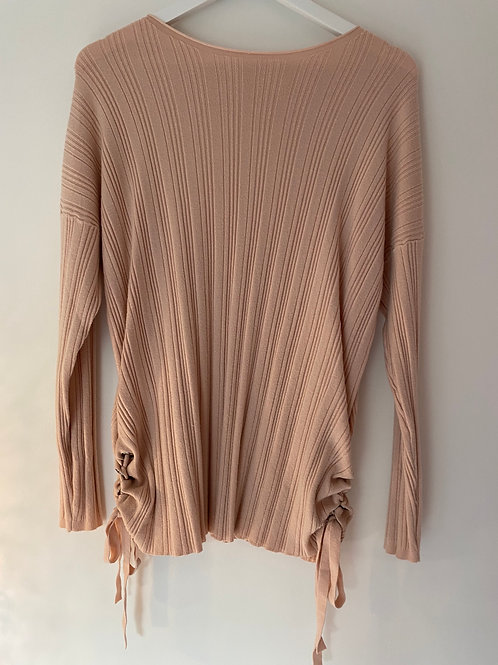 Peach ribbed tie  jumper