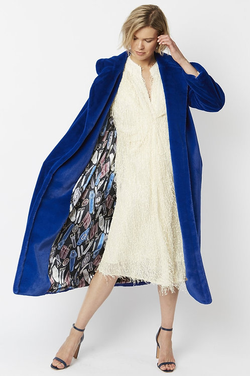 Bright blue maxi faux fur coat