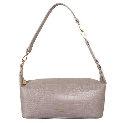 Taupe croc effect shoulder bag