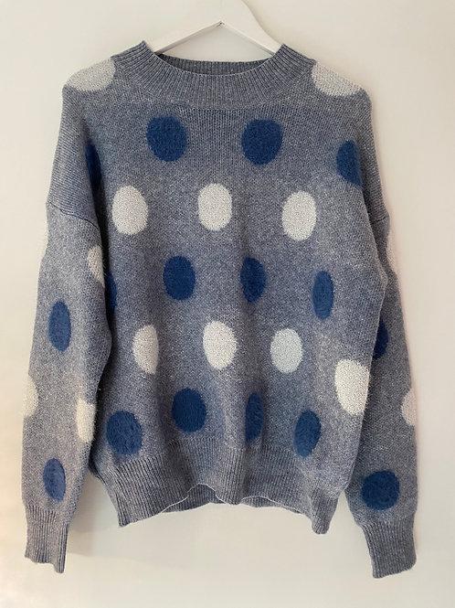 Blue fluffy spotty jumper
