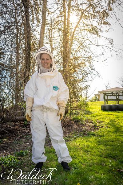 Michelene in a full body bee suit_