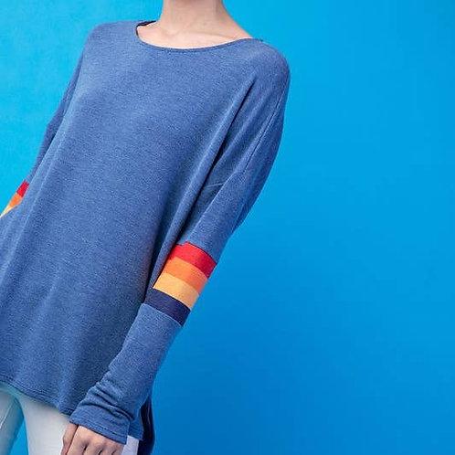 Terry Rainbow Stripe Long Sleeve Top