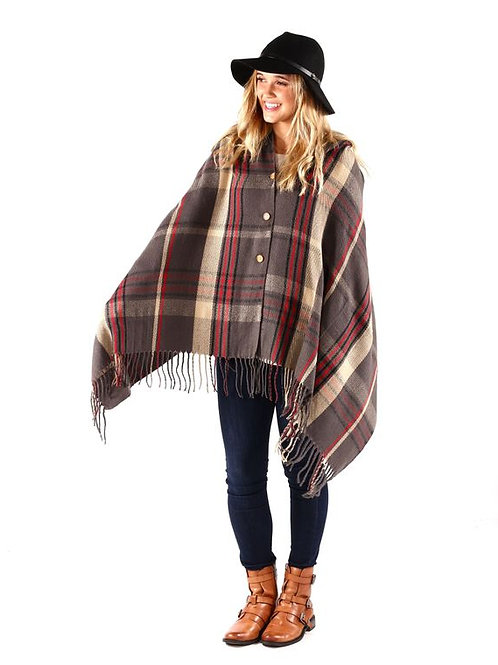 Plaid Button Scarf Shawl Wrap Grey