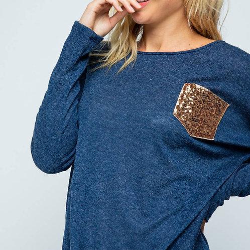 Sequins Pocket Knit Sweater Top