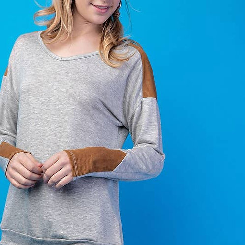 Corduroy Accent Long Sleeve Top