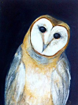 Essay for an owl on wood board