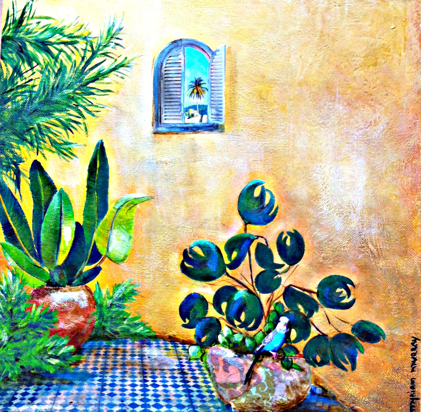 A Parrot in my Patio  35x35cm