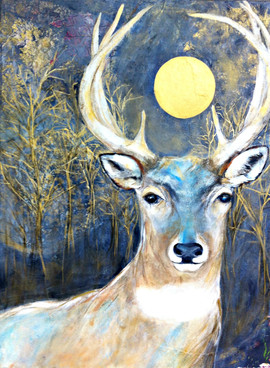 Deer with gold Moon