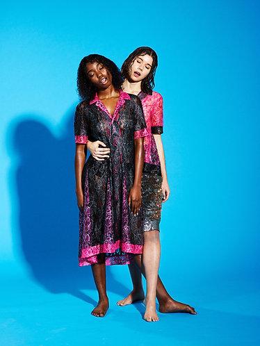 NEON MULTI LACE PANEL SHIRT DRESS