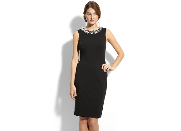 CALVIN KLEIN PEARL TRIM SHEATH DRESS