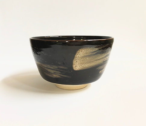 Chawan Black with Strokes