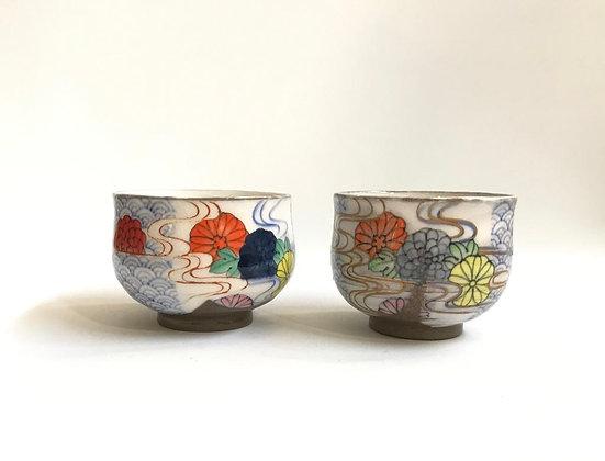 Wave, running water & chrysanthemum cups
