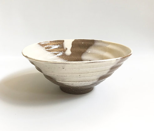 Chawan Brown with White Slip
