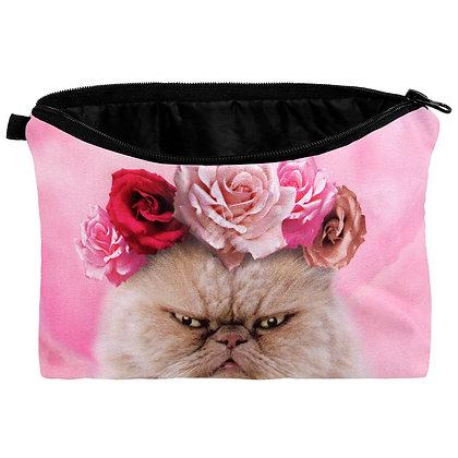 """Kosmetik Tasche mit Motiv """"Katze & Blumen"""""""