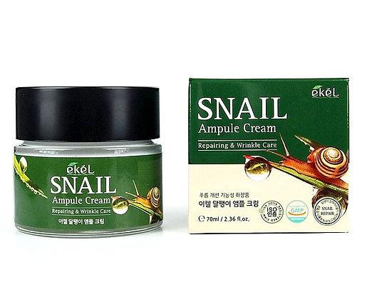 """EKEL """"Ampule Cream Snail"""" Ампульный крем с экстрактом слизи улитки, 70мл."""