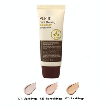 PURITO Snail Clearing BB cream #21 Light Beige ББ-крем с муцином улитки, 30мл.