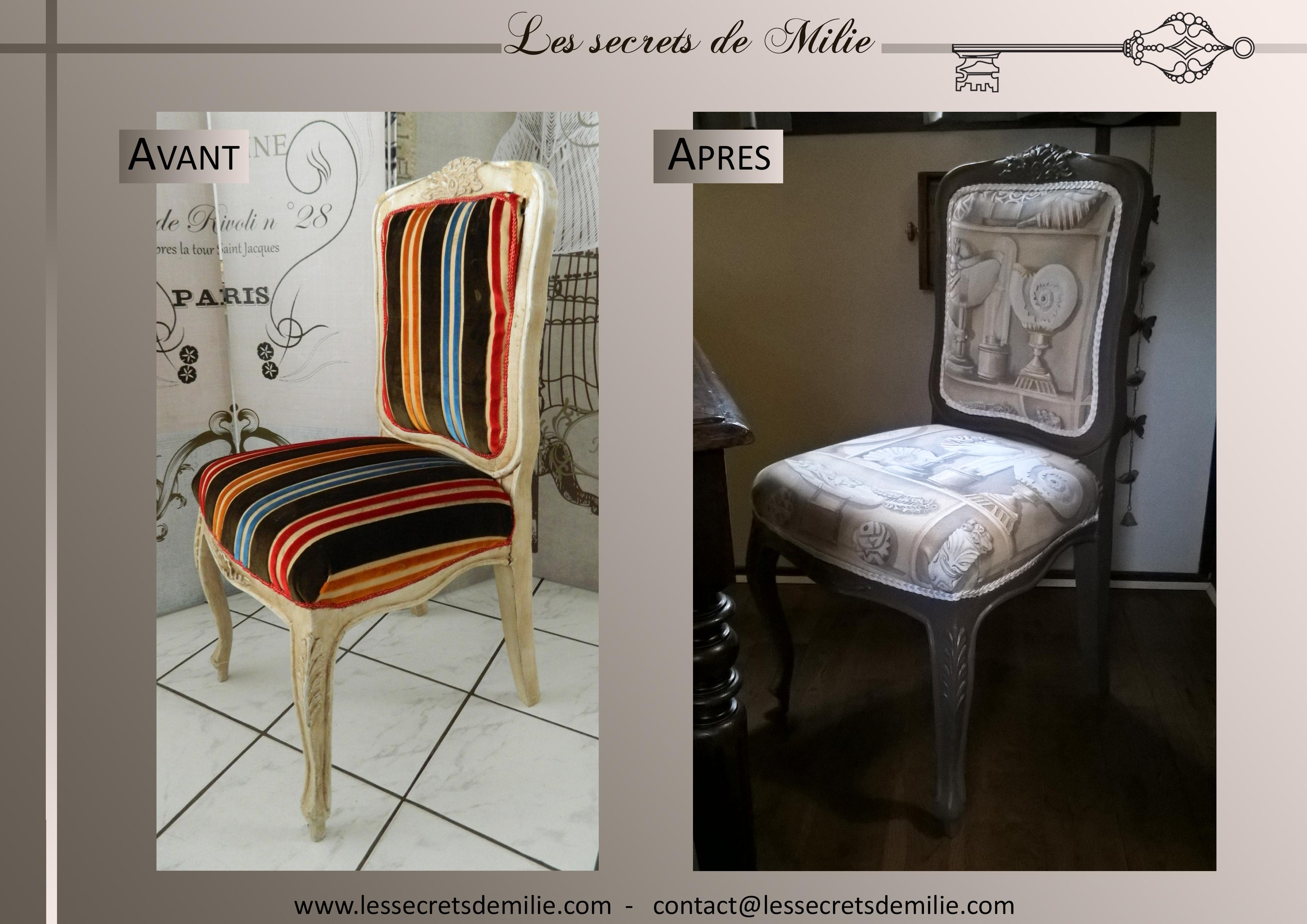 Personnalisation fauteuil Les secrets de Milie