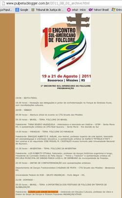 Palestra no Encontro Sul Americano de Folclore