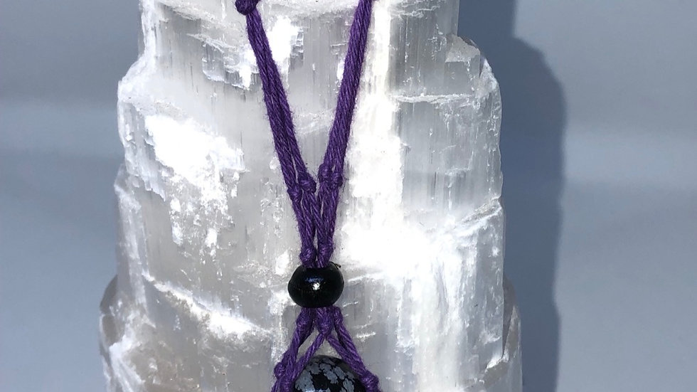Purple Macrame Necklace - LMG Rocks and Crystals