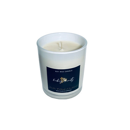 Vanilla, Patchouli and Sandalwood Large Soy Wax Candle - Evoking Serenity