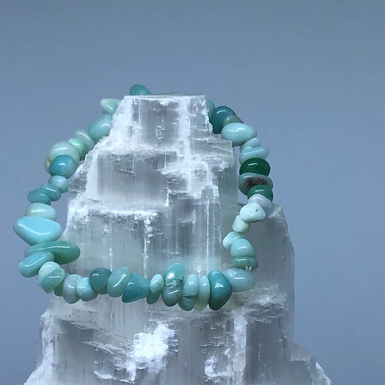 Amazonite Crystal Chip Bracelet - LMG Rocks and Crystals