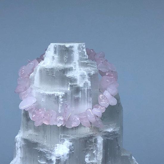 Rose Quartz Crystal Chip Bracelet - LMG Rocks and Crystals
