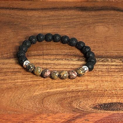 Leopard Skin Jasper and Lava Bead Bracelet - Evoking Serenity