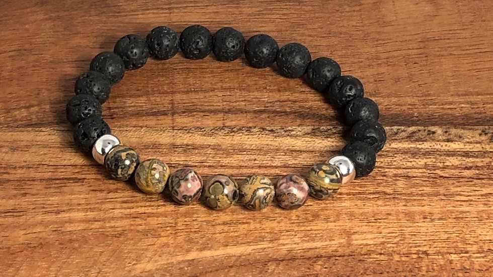 Leopard Skin Jasper & Lava Bead Strength and Speed Relief Bracelet - LMG Rocks and Crystals