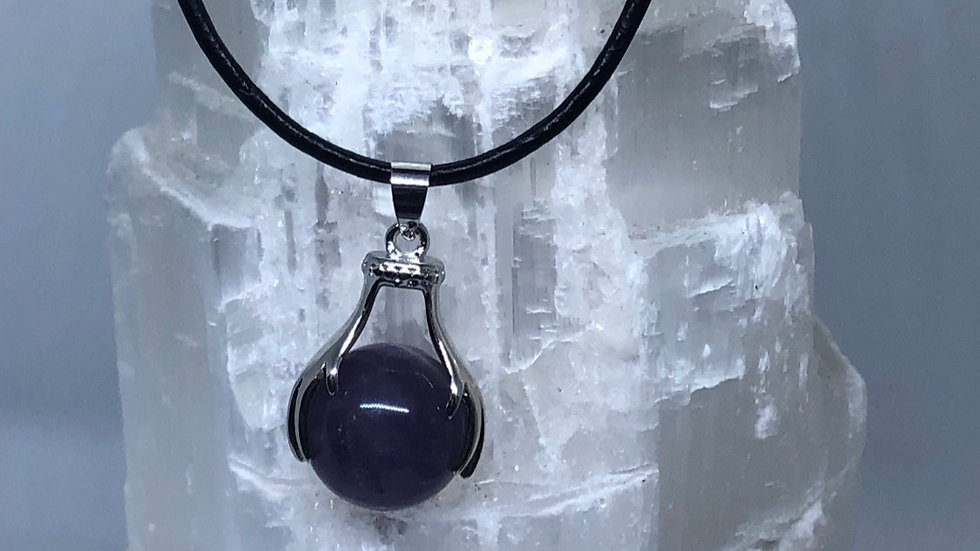 Amethyst Pendant on Leather Necklace LMG Rocks and Crystals