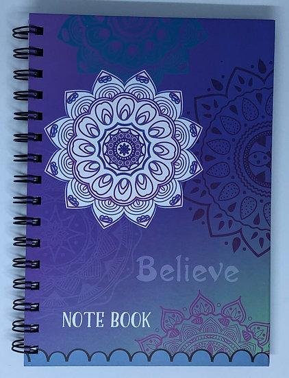 Purple Believe Mandala Inspirational Notebook