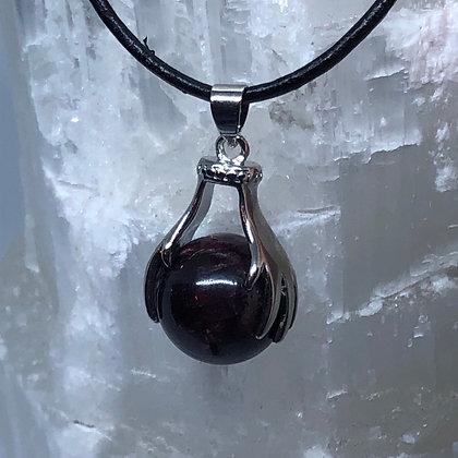 Garnet Pendant on Leather Necklace - LMG Rocks and Crystals