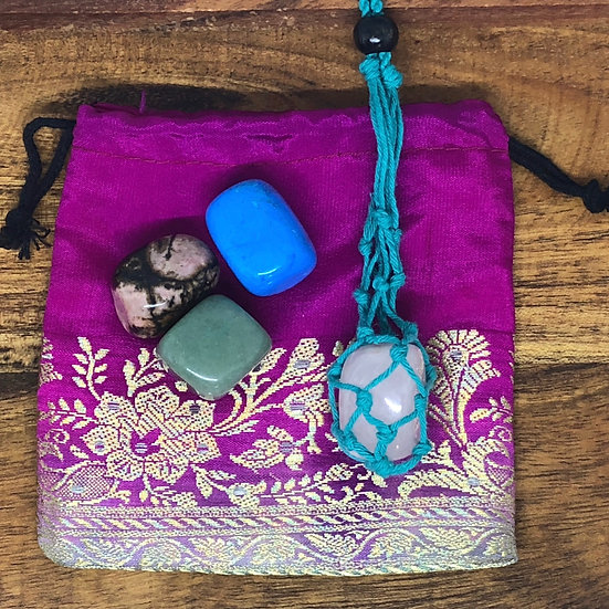 Aqua Macrame Necklace Set Love Crystals in Pouch- LMG Rocks and Crystals
