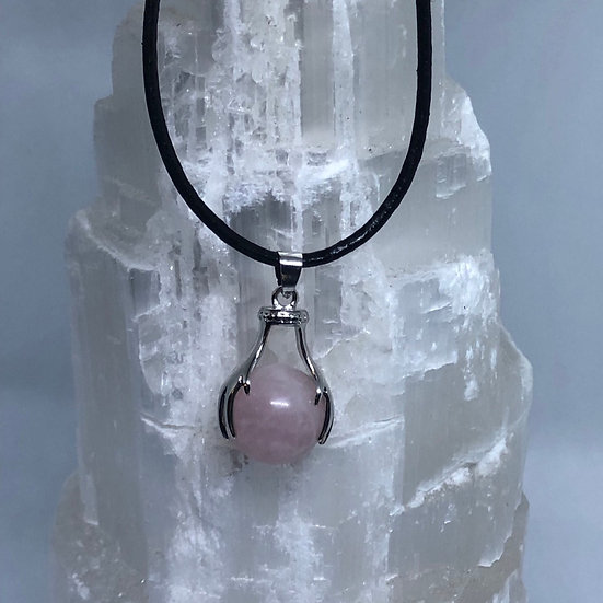 Rose Quartz Pendant on Leather Necklace - LMG Rocks and Crystals