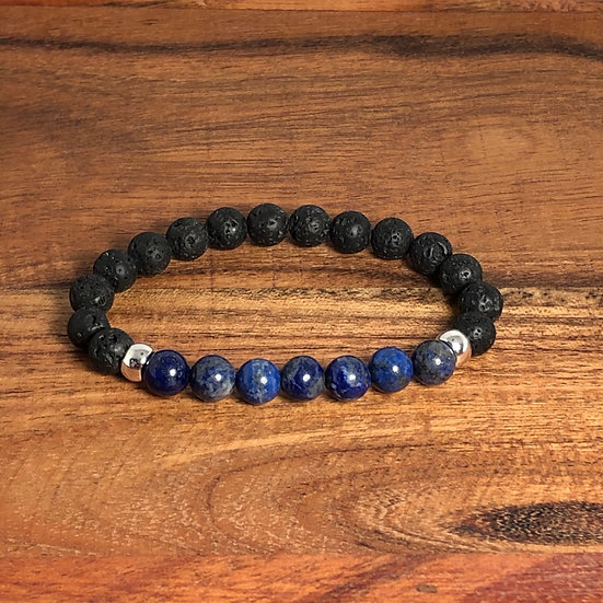 Lapis Lazuli & Lava Bead Enlightenment and Spirituality Bracelet - LMG Rocks and Crystals