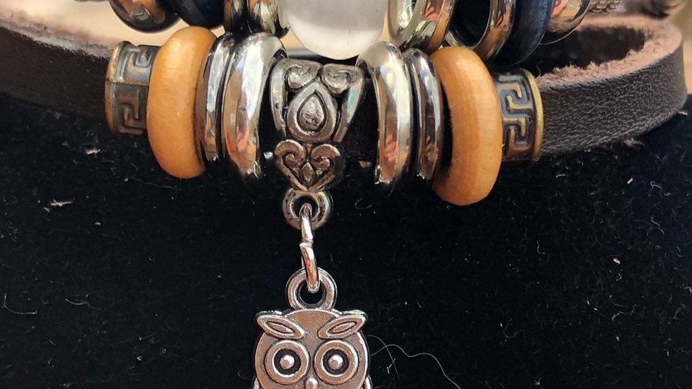 Handmade Multilayer Leather Owl Charm Bracelet