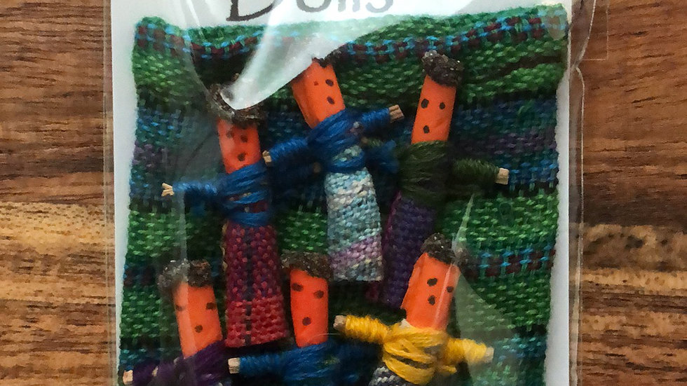 Worry Dolls in a Handwoven Bag