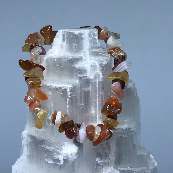 Carnelian Crystal Chip Bracelet - LMG Rocks and Crystals