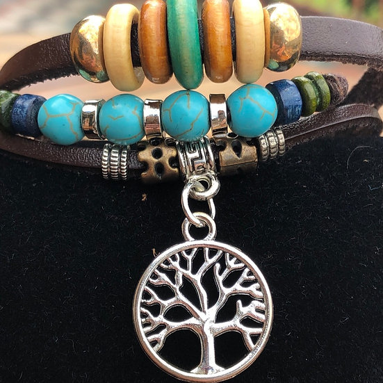 Handmade Multilayer Leather Tree of Life Charm Bracelet