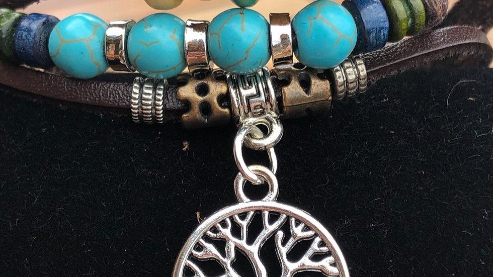 Handmade Multilayer Leather Tree of Life Charm Bracelet