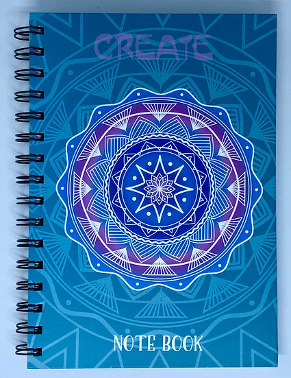 Blue Create Mandala Inspirational Notebook