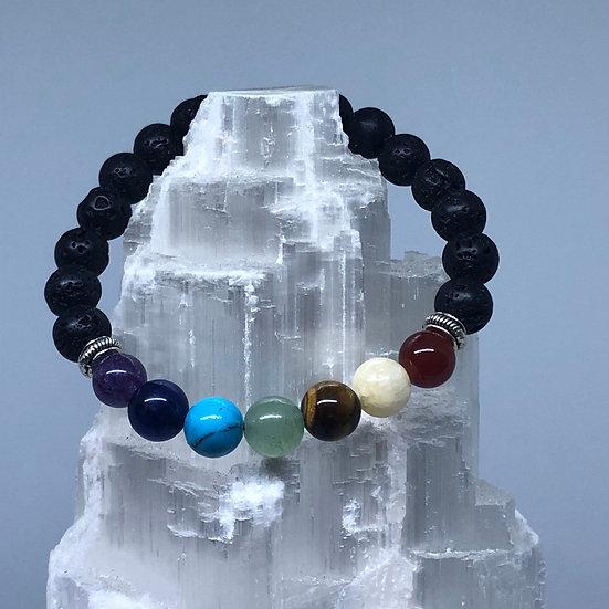 Chakra & Lava Bead Harmony and Balance Bracelet - LMG Rocks and Crystals