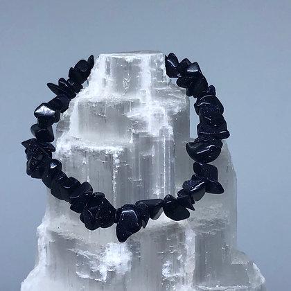 Goldstone Blue Crystal Chip Bracelet - Evoking Serenity