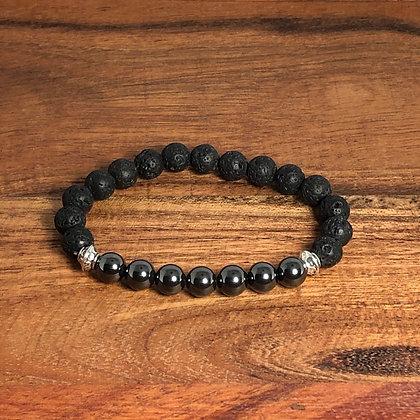 Hematite & Lava Bead Stress Relief Bracelet - Evoking Serenity