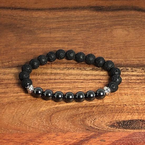 Hematite & Lava Bead Stress Relief Bracelet - LMG Rocks and crystals