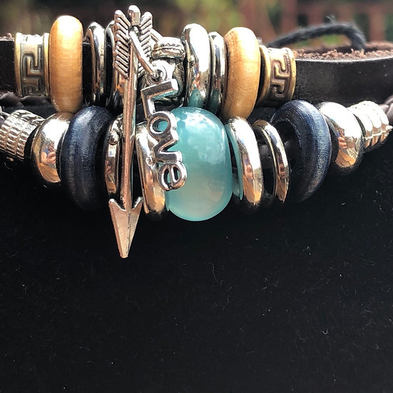 Handmade Multilayer Leather Love & Arrow Charm Bracelet