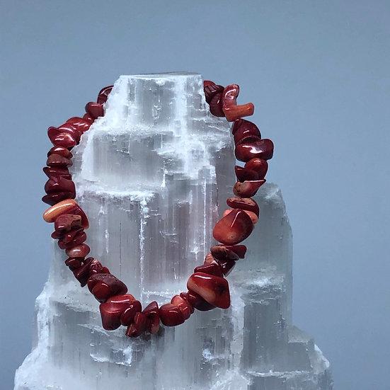Red Coral Crystal Chip Bracelet - LMG Rocks and Crystals