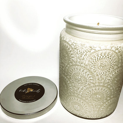 Embossed Jar Soy Wax Candle - White