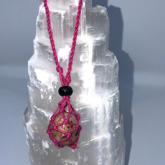Pink Macrame Necklace - LMG Rocks and Crystals