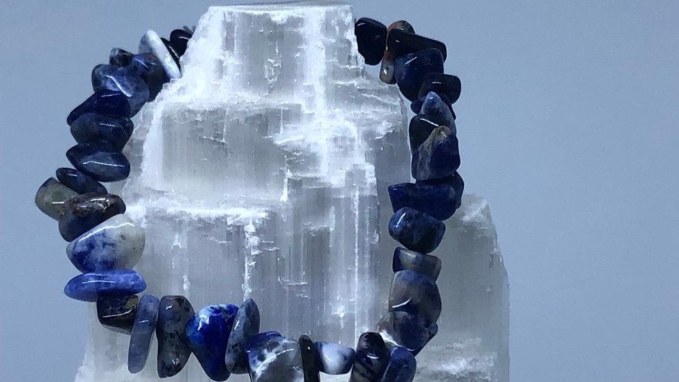 Sodalite Crystal Chip Bracelet - LMG Rocks and Crystals