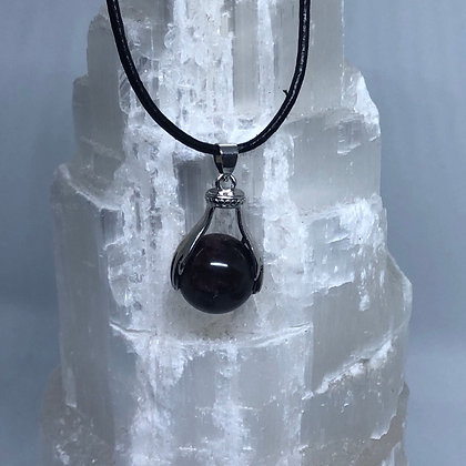 Black Onyx Pendant on Leather Necklace - LMG Rocks and Crystals